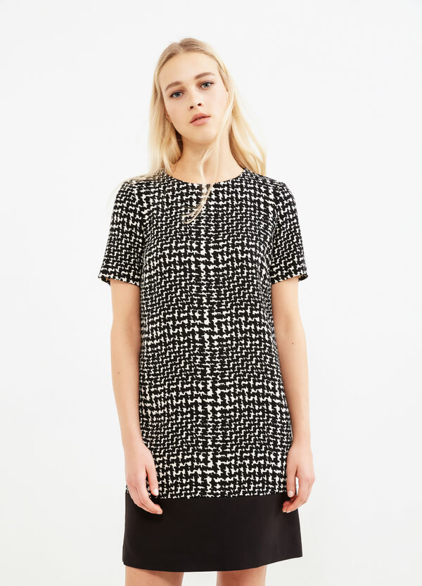 Patterned stretch dress with short sleeves | OVS