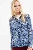 Patterned fleece sweatshirt with zip, White/Blue, hi-res