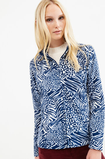 Patterned fleece sweatshirt with zip, White/Blue, hi-res