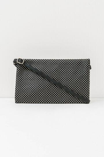 Clutch bag with shoulder strap and studs, Black, hi-res