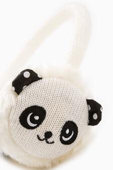 Earmuffs with panda embroidery, Cream White, hi-res