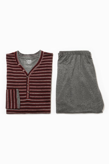 V-neck pyjamas in 100% striped cotton, Dark Red, hi-res