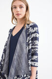Striped cardigan with three-quarter sleeves, White/Blue, hi-res