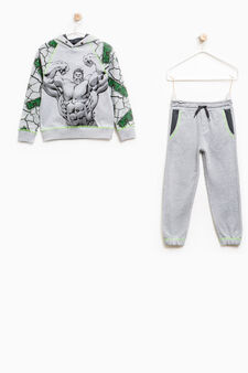 100% cotton tracksuit with Hulk print, Grey Marl, hi-res