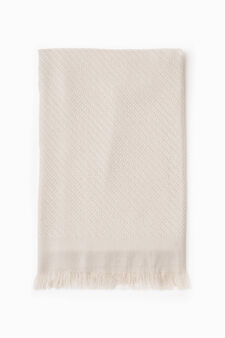 Knitted scarf with fringed edges, Chalk White, hi-res