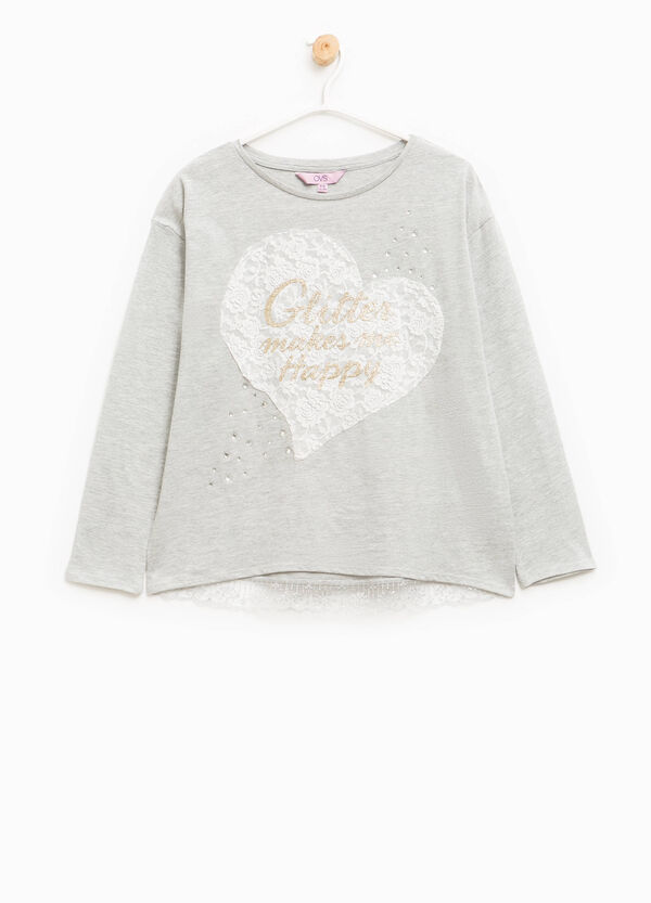 T-shirt in cotton with print and lace | OVS