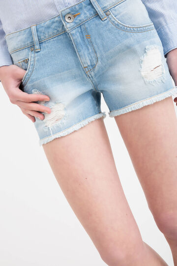 Denim shorts with rips, Blue, hi-res