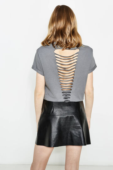 Cotton T-shirt with back openings