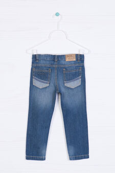 Worn-effect jeans with embroidery, Denim, hi-res
