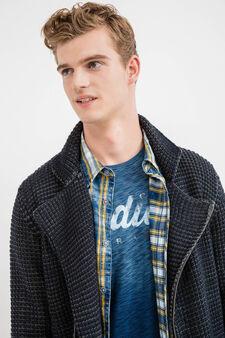 Knit cardigan with asymmetric zip, Navy Blue, hi-res