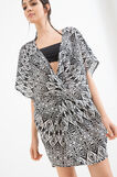Patterned beach cover-up in 100% cotton, Black/White, hi-res