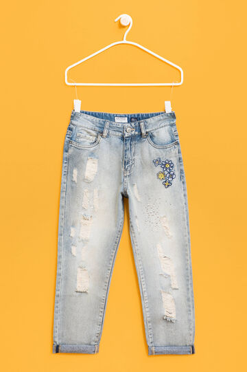 Jeans girlfriend fit strass e ricami, Blu chiaro, hi-res