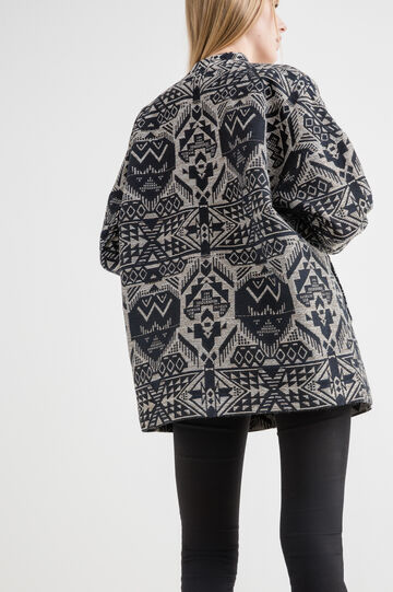 Cotton blend parka with ethnic pattern, White/Blue, hi-res