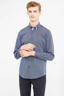 Slim-fit formal shirt with double collar, Dark Blue, hi-res