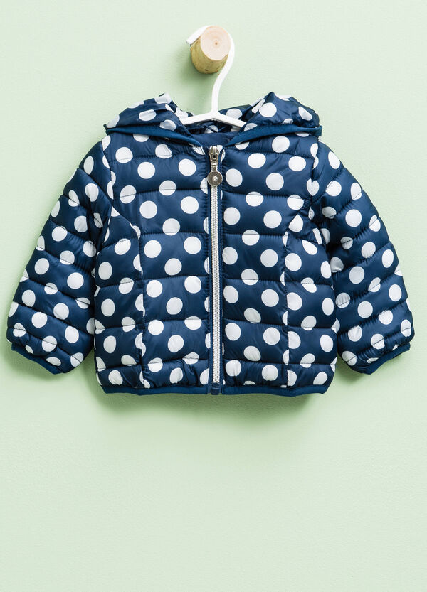Polka dot patterned down jacket with hood | OVS