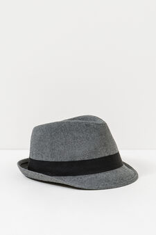 Hat with contrasting colour band, Grey, hi-res