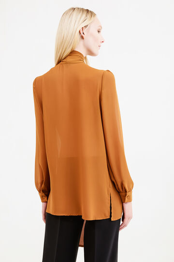 Solid colour blouse with bow, Cognac Brown, hi-res