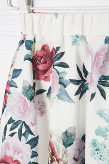 Stretch skirt with floral print, White, hi-res