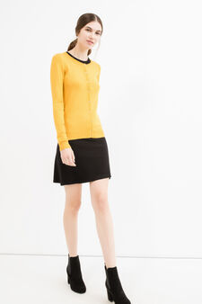 Viscose cardigan with contrasting buttons, Ochre Yellow, hi-res