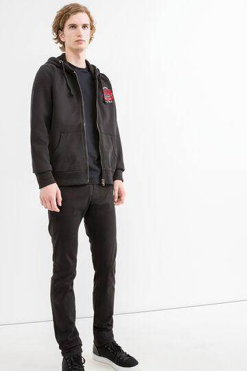 G&H solid colour cotton blend sweatshirt, Black, hi-res