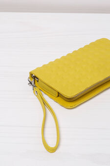 Solid colour leather look clutch., Yellow, hi-res