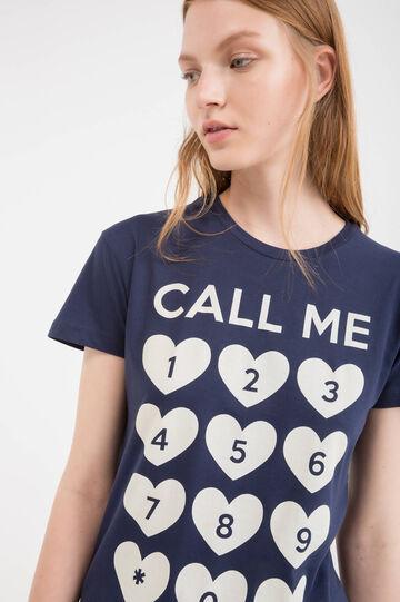 Maxi print T-shirt in 100% cotton, Blue, hi-res