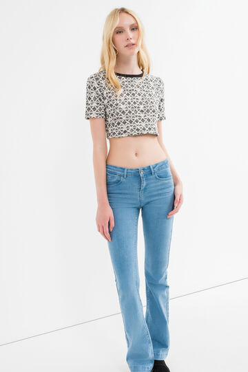 Cotton and lurex blend crop T-shirt, White/Black, hi-res