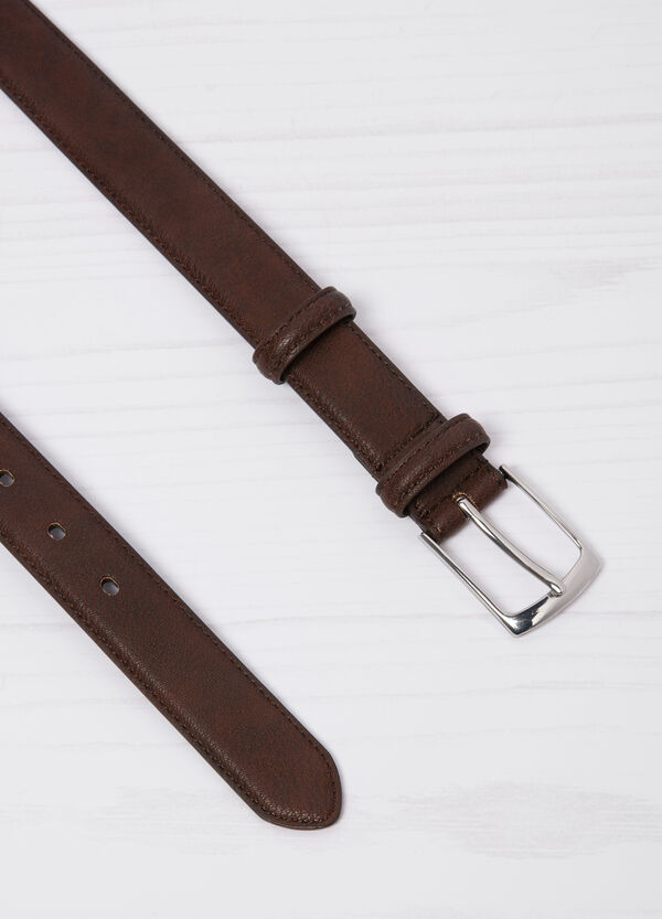 Leather look belt with rectangular buckle   OVS