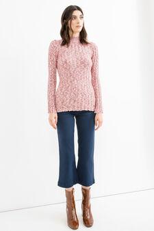 Pantaloni crop stretch gamba a zampa, Blu, hi-res
