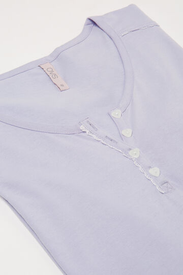 Curvy cotton pyjama top with buttons, Lilac, hi-res