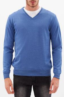 Pullover misto lana con scollo a V, Azzurro scuro, hi-res