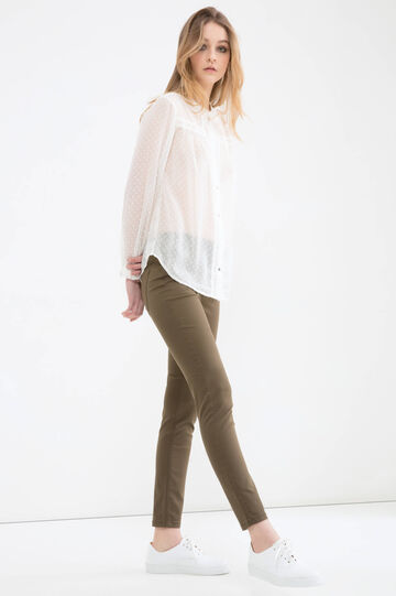 Solid colour jeggings with regular waist, Olive Green, hi-res