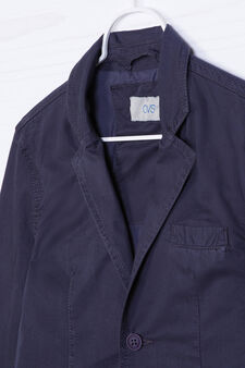 Jacket in 100% cotton with lapels., Navy Blue, hi-res