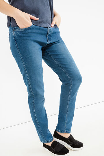 Curvy faded-effect stretch jeans, Blue, hi-res