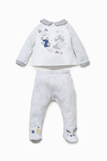 T-shirt and baby leggings set with ears, White/Grey, hi-res