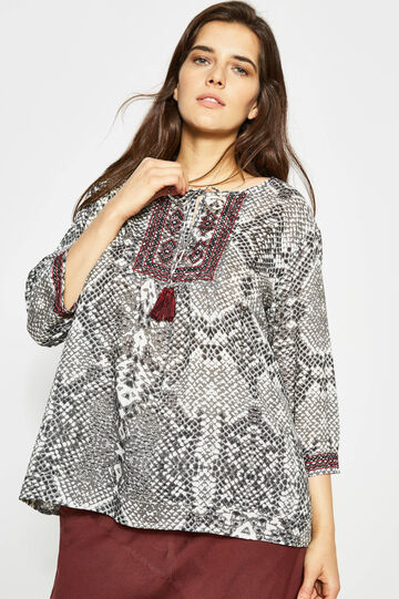 Curvy animal print blouse with embroidery