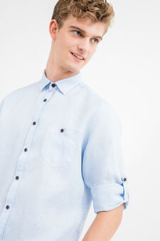 Solid colour 100% linen casual shirt, Soft Blue, hi-res