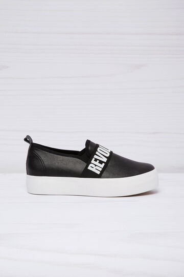 Leather look slip-ons with thick sole, Black, hi-res