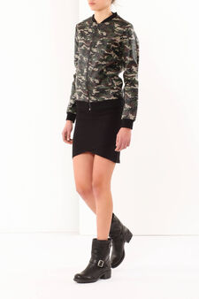 Camouflage print bomber jacket, Army Green, hi-res