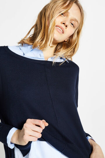 Crop pullover with asymmetrical hem, Blue, hi-res