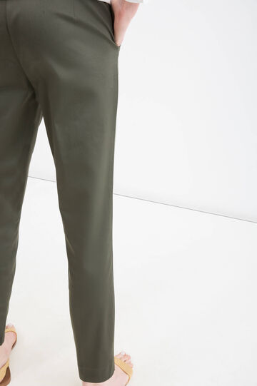 Stretch cotton satin trousers, Green, hi-res
