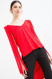 Solid colour stretch viscose top, Red, hi-res