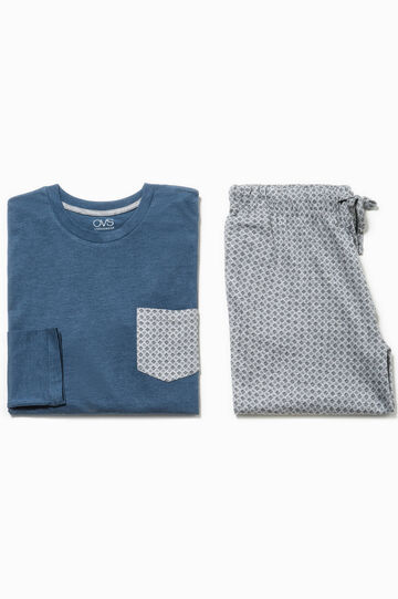 100% cotton pyjamas with geometric pattern, Grey/Blue, hi-res