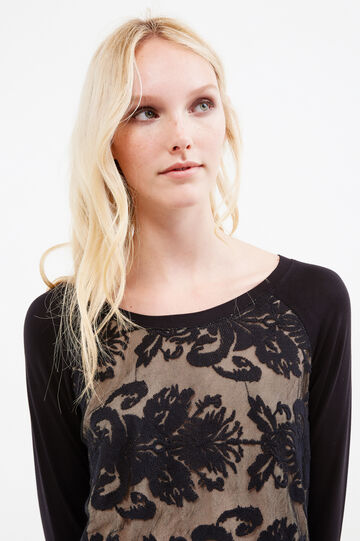 T-shirt with contrasting lining and lace, Black, hi-res