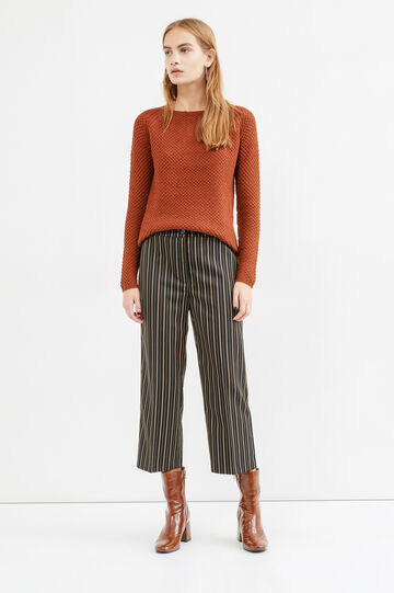 Stretch striped viscose crop trousers, Multicolour, hi-res