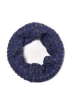 Knitted loop scarf, White/Black, hi-res