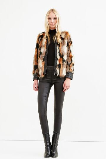 Faux fur jacket with zip, Brown, hi-res