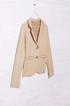 Stretch cotton jacket, Beige, hi-res