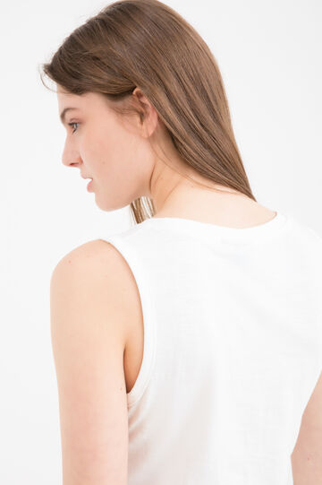 Sleeveless T-shirt with slits, Milky White, hi-res