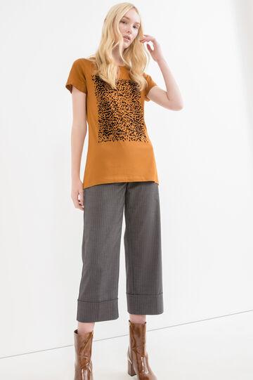 T-shirt cotone modal con stampa, Marrone tabacco, hi-res